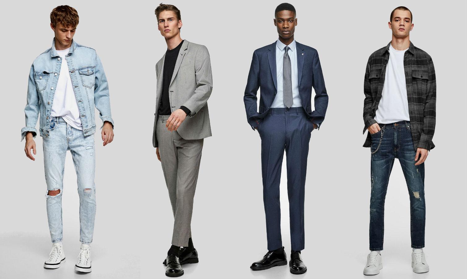 Calça masculina barra curta cropped