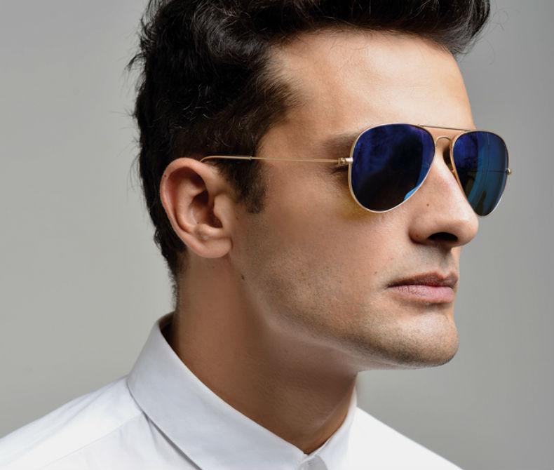 Homem No Espelho - Cores das lentes dos óculos escuros - de sol - lente azul