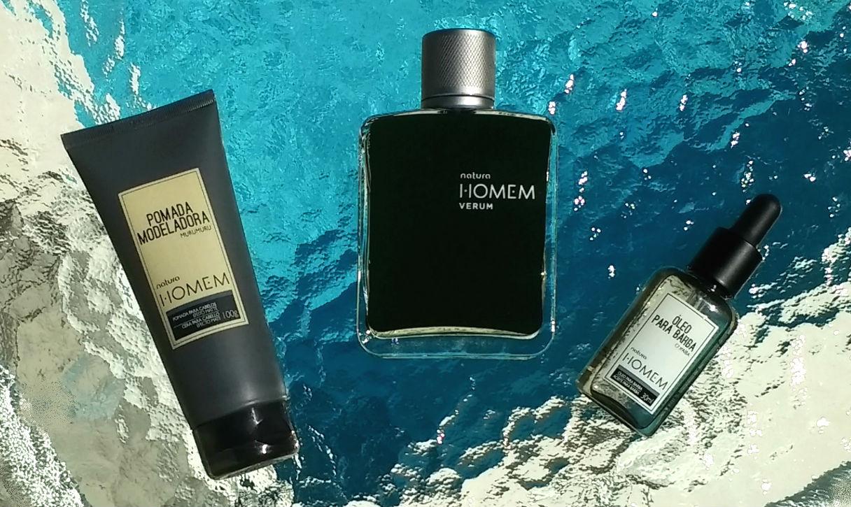 Homem No Espelho - produtos masculinos Natura Homem - Perfume Verum - Pomada cabelo - óleo barba